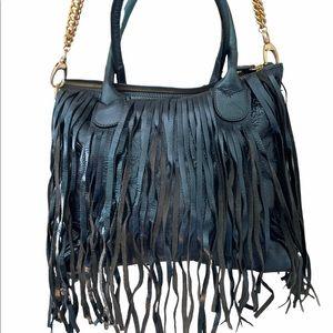 Alberta Di Canio Leather Fringe Bag Blue Metallic